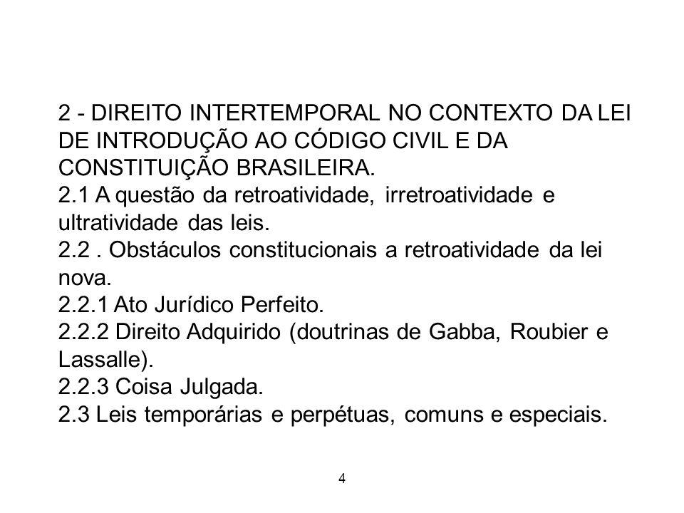 2.2 . Obstáculos constitucionais a retroatividade da lei nova.