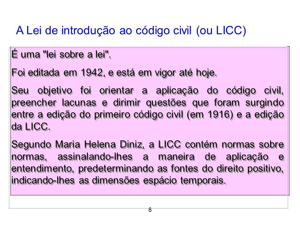 A Lei de introdução ao código civil (ou LICC)