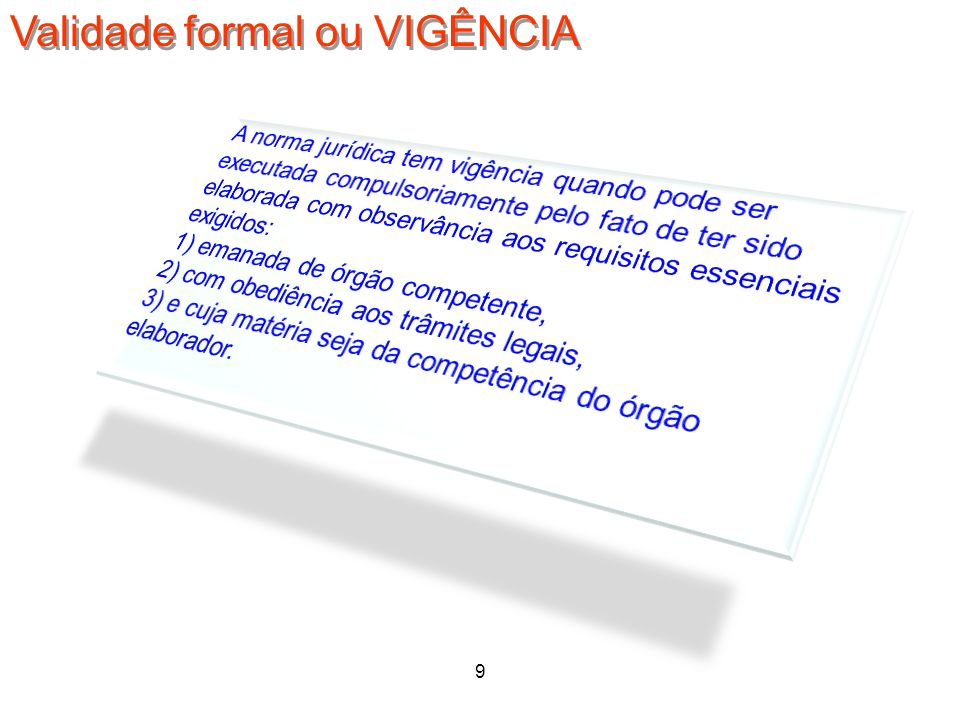 Validade formal ou VIGÊNCIA