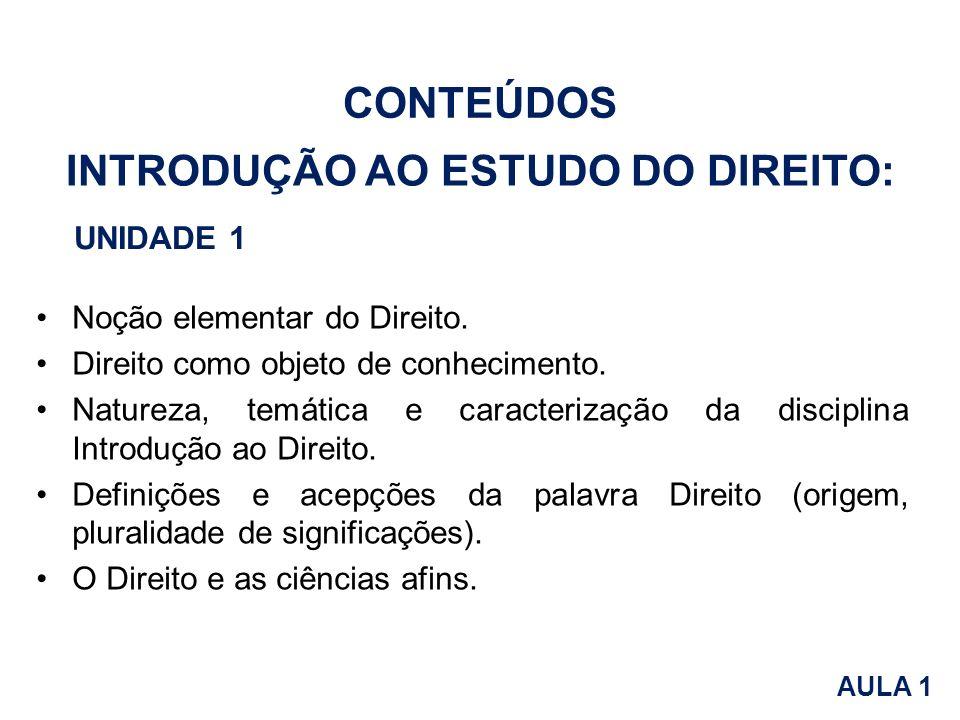 INTRODUÇÃO AO ESTUDO DO DIREITO: