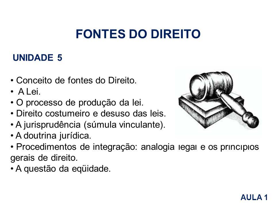 FONTES DO DIREITO Unidade 5 Conceito de fontes do Direito. • A Lei.