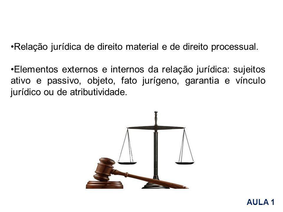 Relação jurídica de direito material e de direito processual.