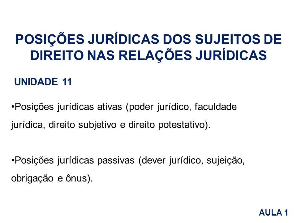 POSIÇÕES JURÍDICAS DOS SUJEITOS DE DIREITO NAS RELAÇÕES JURÍDICAS