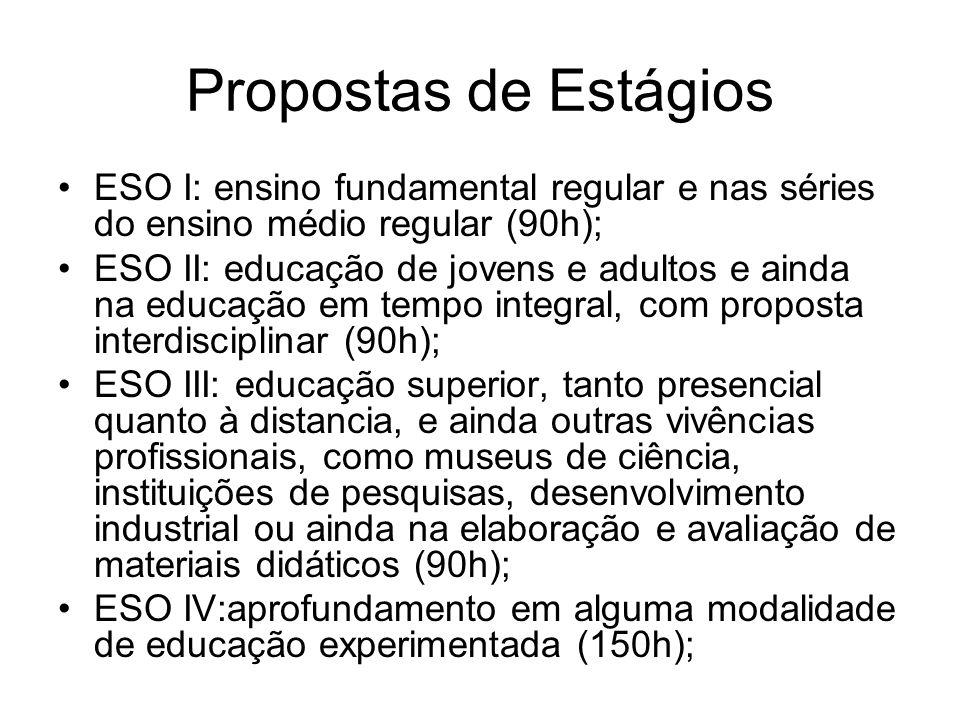 Propostas de Estágios ESO I: ensino fundamental regular e nas séries do ensino médio regular (90h);