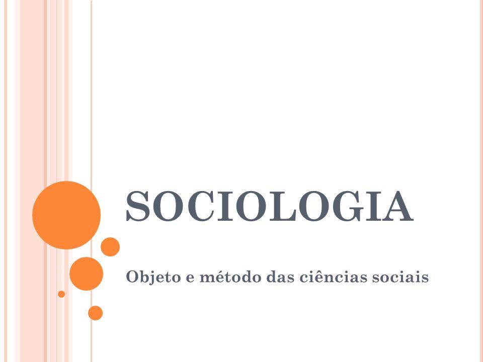 Objeto e método das ciências sociais
