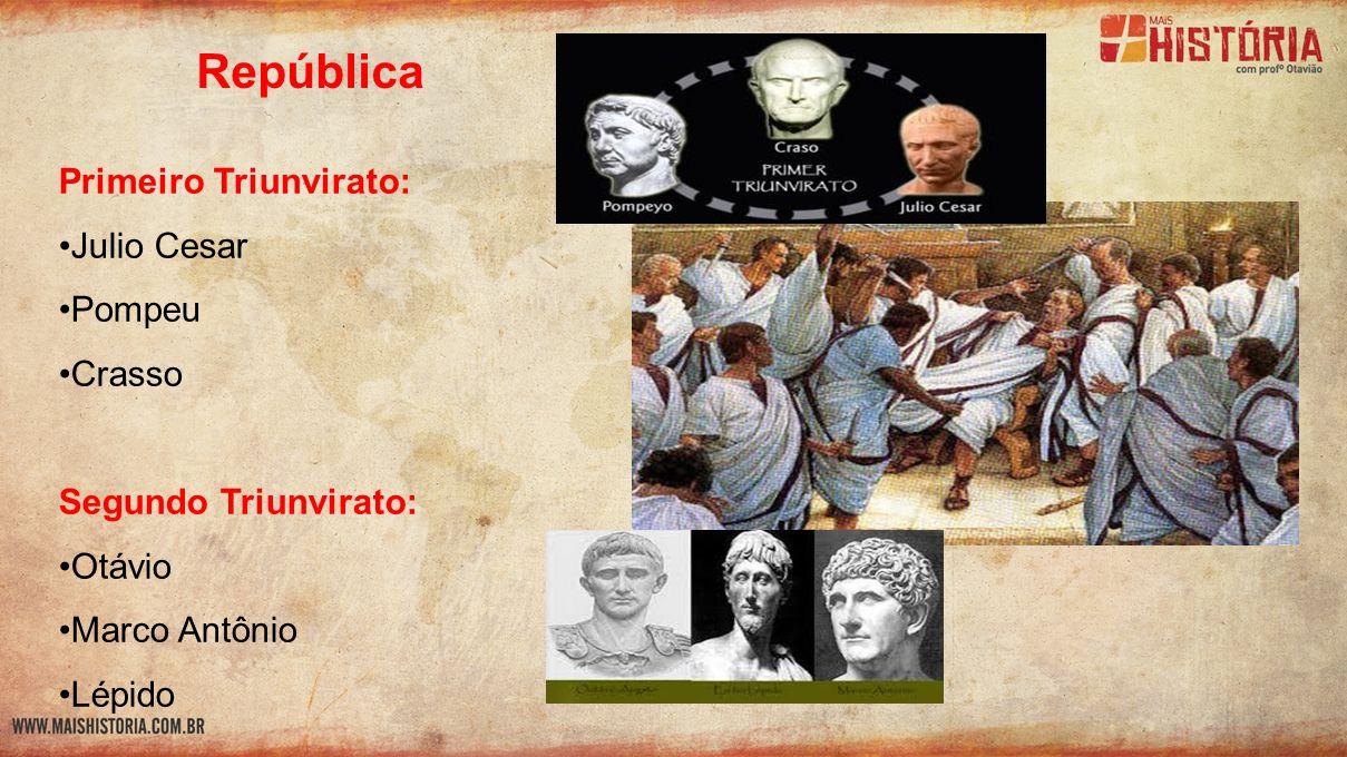 República Primeiro Triunvirato: Julio Cesar Pompeu Crasso