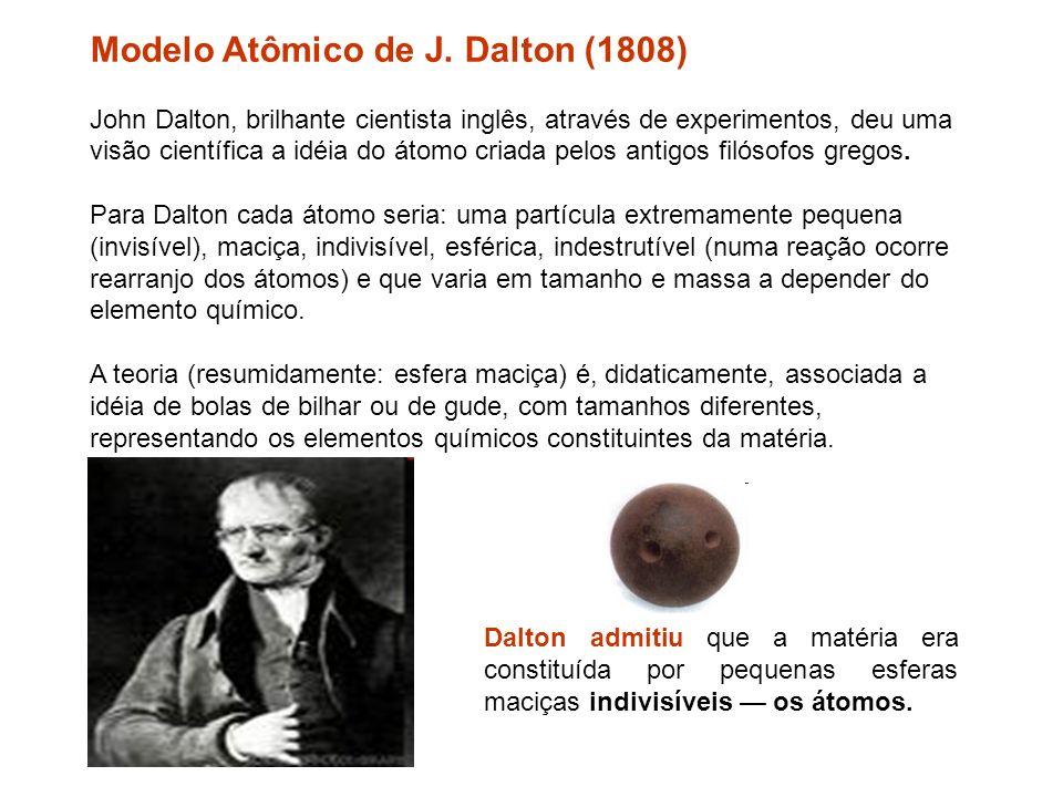 Modelo Atômico de J. Dalton (1808) John Dalton, brilhante cientista inglês, através de experimentos, deu uma visão científica a idéia do átomo criada pelos antigos filósofos gregos. Para Dalton cada átomo seria: uma partícula extremamente pequena (invisível), maciça, indivisível, esférica, indestrutível (numa reação ocorre rearranjo dos átomos) e que varia em tamanho e massa a depender do elemento químico. A teoria (resumidamente: esfera maciça) é, didaticamente, associada a idéia de bolas de bilhar ou de gude, com tamanhos diferentes, representando os elementos químicos constituintes da matéria.