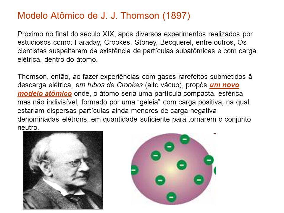 Modelo Atômico de J. J. Thomson (1897) Próximo no final do século XIX, após diversos experimentos realizados por estudiosos como: Faraday, Crookes, Stoney, Becquerel, entre outros, Os cientistas suspeitaram da existência de partículas subatômicas e com carga elétrica, dentro do átomo.