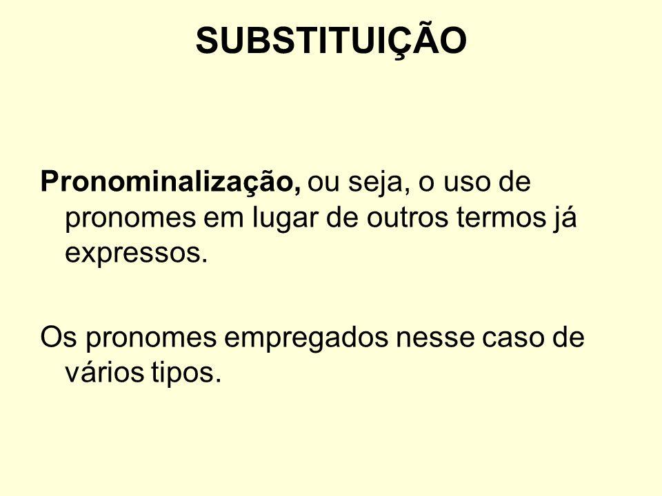 SUBSTITUIÇÃOPronominalização, ou seja, o uso de pronomes em lugar de outros termos já expressos.