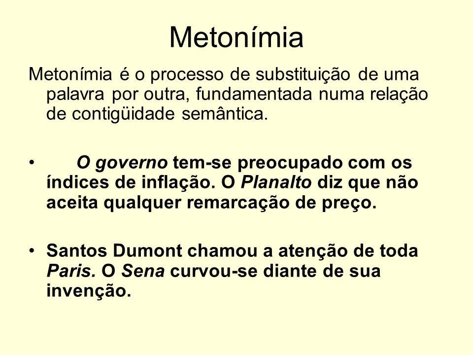 MetonímiaMetonímia é o processo de substituição de uma palavra por outra, fundamentada numa relação de contigüidade semântica.