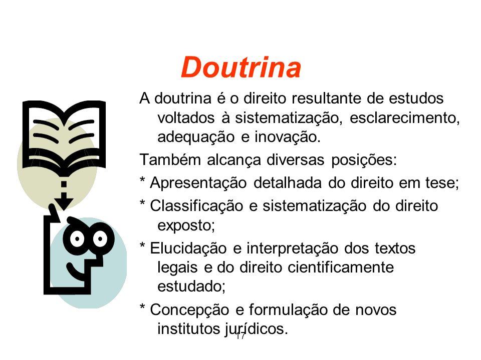 Doutrina A doutrina é o direito resultante de estudos voltados à sistematização, esclarecimento, adequação e inovação.