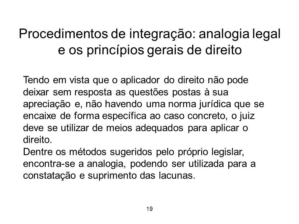 Procedimentos de integração: analogia legal e os princípios gerais de direito