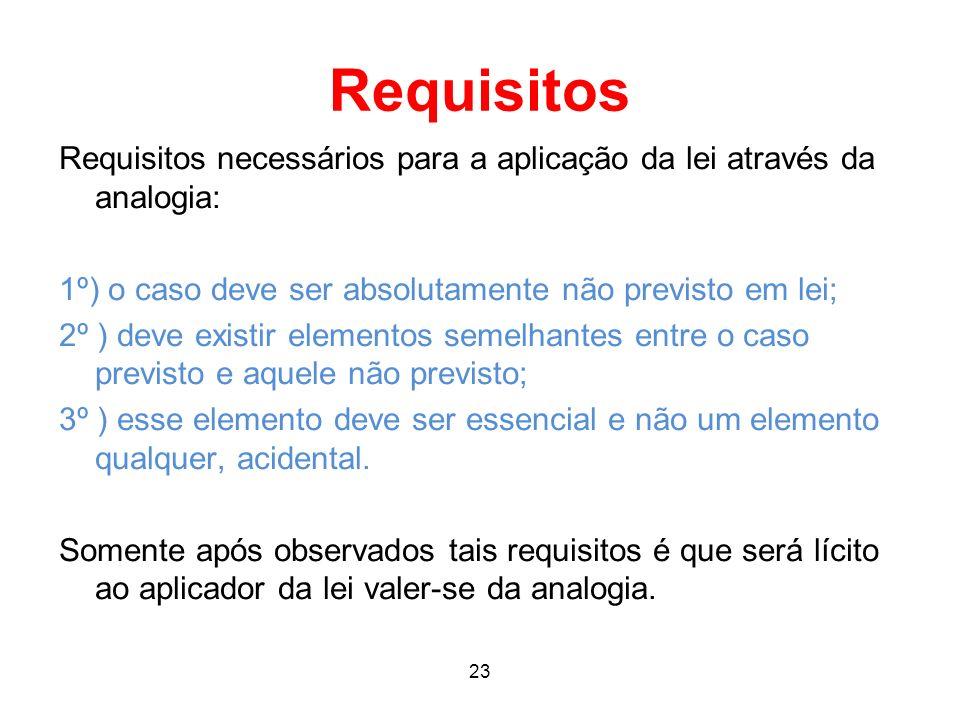 Requisitos Requisitos necessários para a aplicação da lei através da analogia: 1º) o caso deve ser absolutamente não previsto em lei;