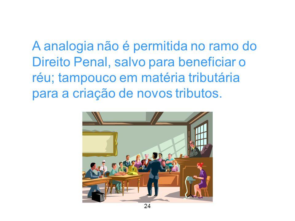 A analogia não é permitida no ramo do Direito Penal, salvo para beneficiar o réu; tampouco em matéria tributária para a criação de novos tributos.
