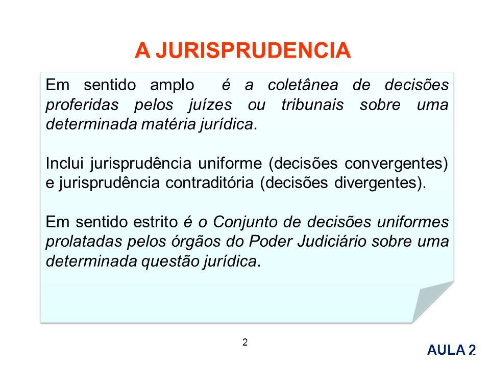 A JURISPRUDENCIA Em sentido amplo é a coletânea de decisões proferidas pelos juízes ou tribunais sobre uma determinada matéria jurídica.