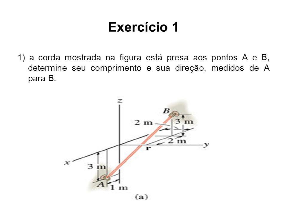 Exercício 1 1) a corda mostrada na figura está presa aos pontos A e B, determine seu comprimento e sua direção, medidos de A para B.