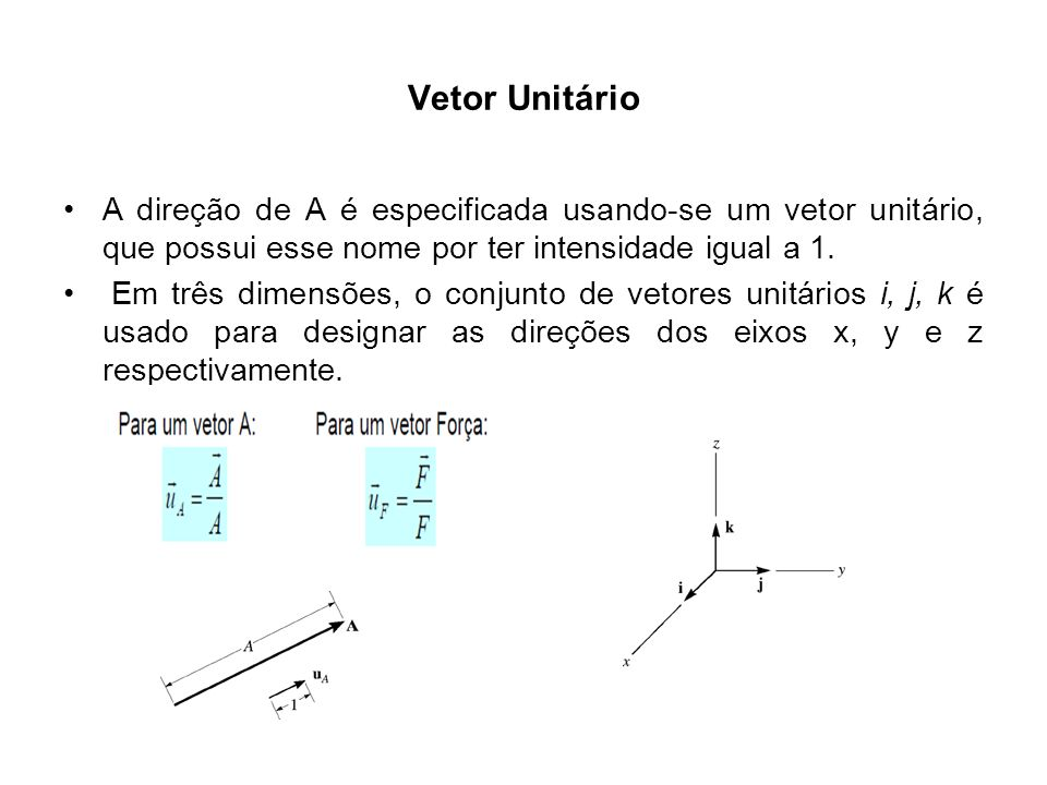 Vetor Unitário A direção de A é especificada usando-se um vetor unitário, que possui esse nome por ter intensidade igual a 1.