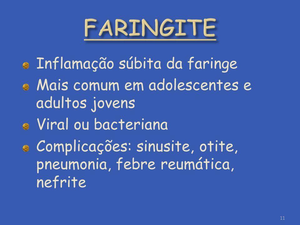FARINGITE Inflamação súbita da faringe