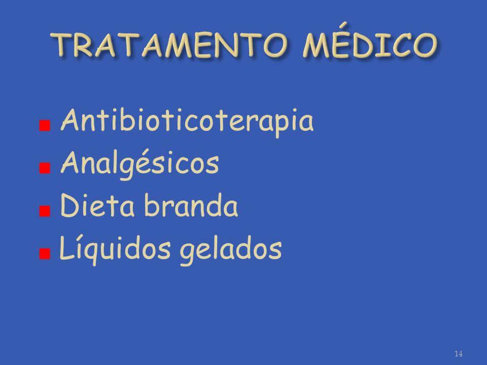 TRATAMENTO MÉDICO Antibioticoterapia Analgésicos Dieta branda