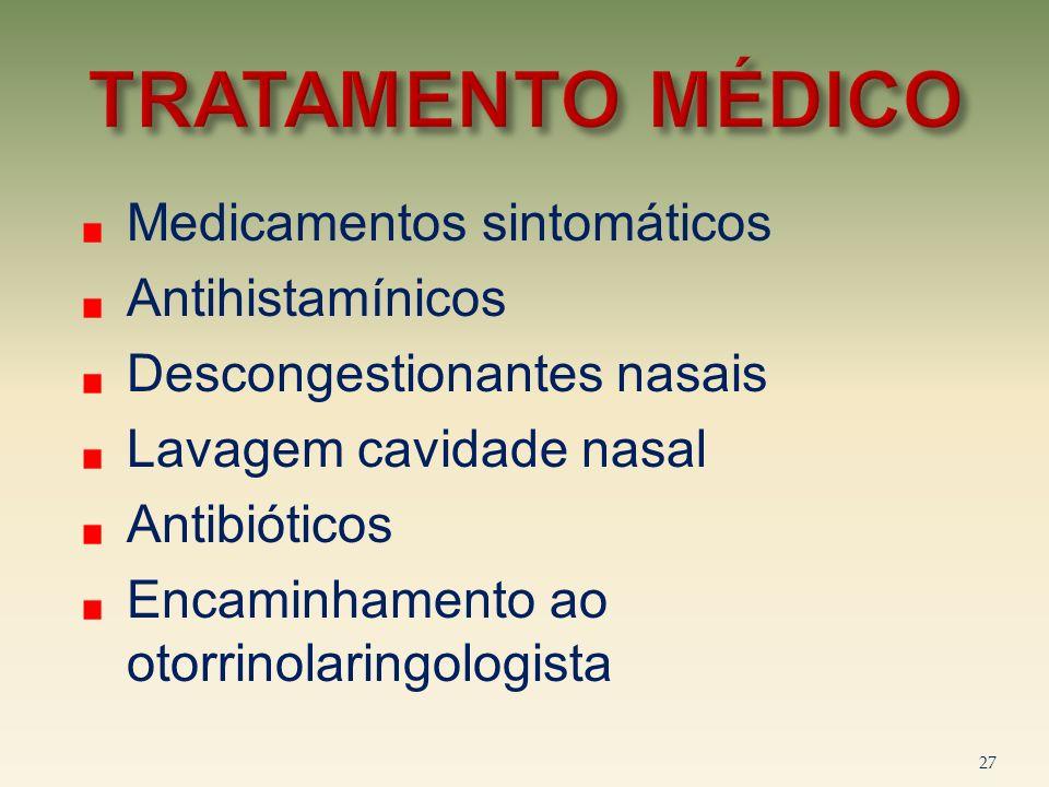 TRATAMENTO MÉDICO Medicamentos sintomáticos Antihistamínicos