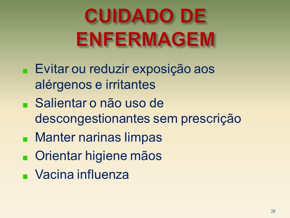 CUIDADO DE ENFERMAGEM Evitar ou reduzir exposição aos alérgenos e irritantes. Salientar o não uso de descongestionantes sem prescrição.