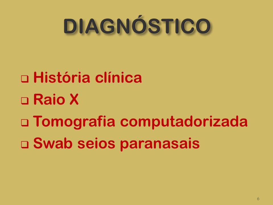 DIAGNÓSTICO História clínica Raio X Tomografia computadorizada