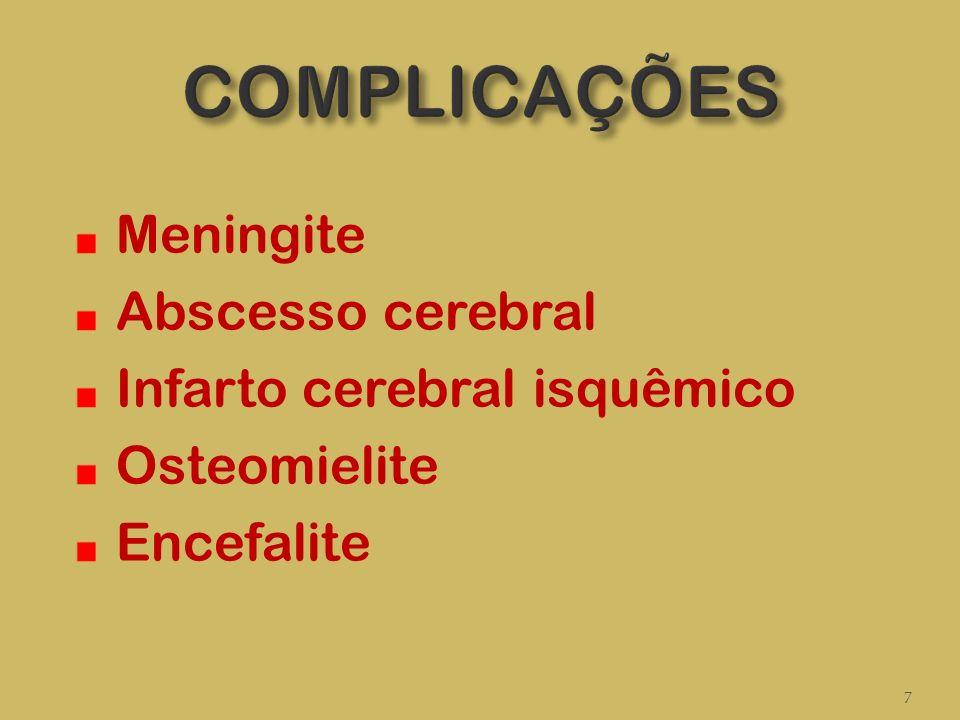 COMPLICAÇÕES Meningite Abscesso cerebral Infarto cerebral isquêmico