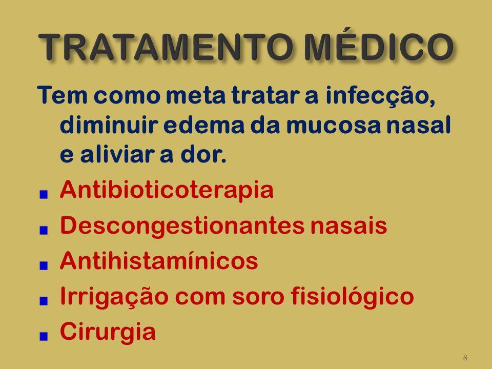 TRATAMENTO MÉDICO Tem como meta tratar a infecção, diminuir edema da mucosa nasal e aliviar a dor. Antibioticoterapia.