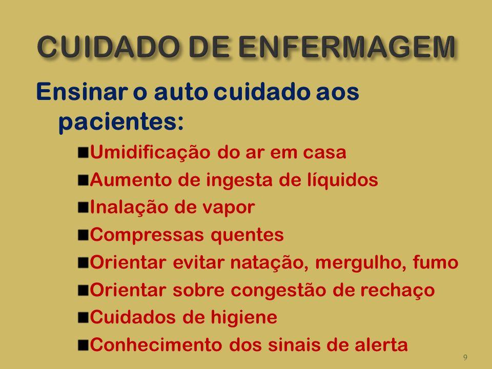 CUIDADO DE ENFERMAGEM Ensinar o auto cuidado aos pacientes: