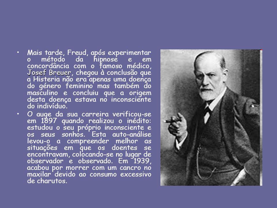 Mais tarde, Freud, após experimentar o método da hipnose e em concordância com o famoso médico, Josef Breuer, chegou à conclusão que a Histeria não era apenas uma doença do género feminino mas também do masculino e concluiu que a origem desta doença estava no inconsciente do indivíduo.