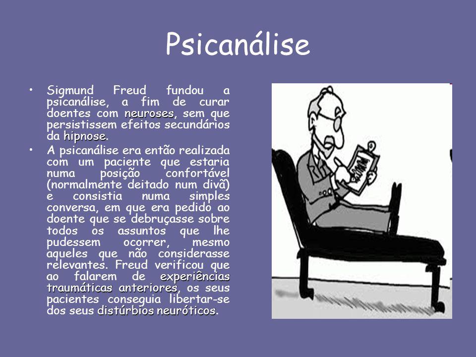 Psicanálise Sigmund Freud fundou a psicanálise, a fim de curar doentes com neuroses, sem que persistissem efeitos secundários da hipnose.
