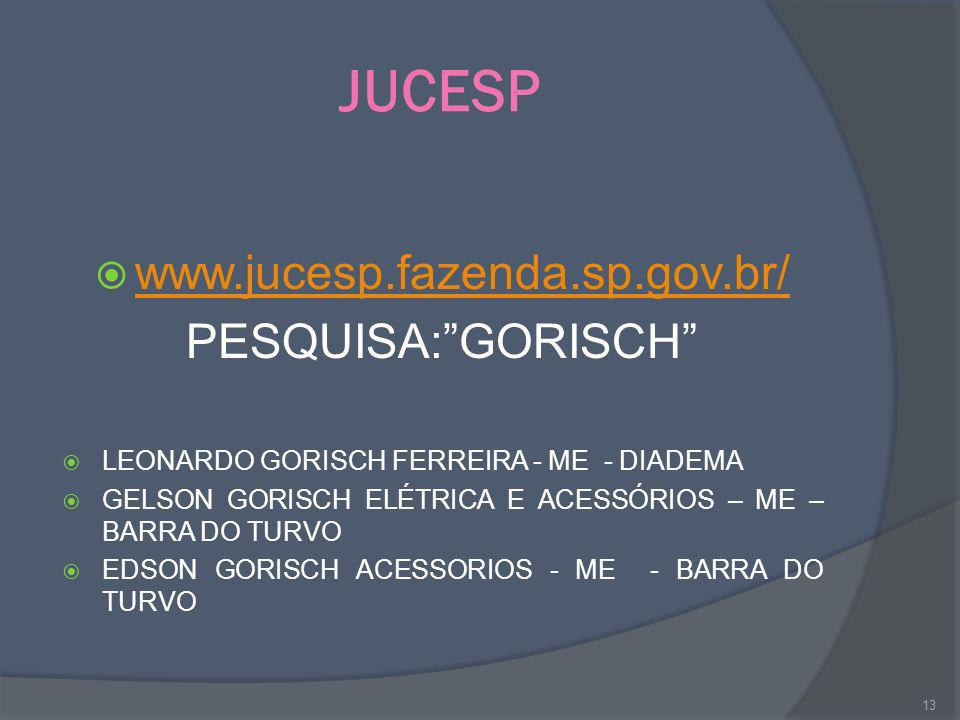 JUCESP www.jucesp.fazenda.sp.gov.br/ PESQUISA: GORISCH