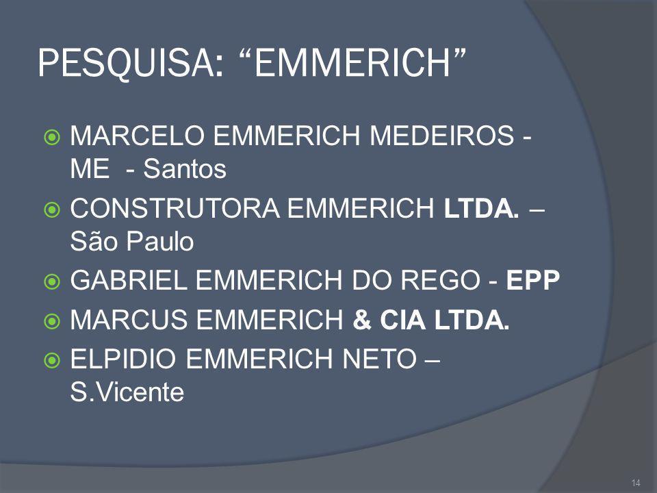 PESQUISA: EMMERICH MARCELO EMMERICH MEDEIROS - ME - Santos