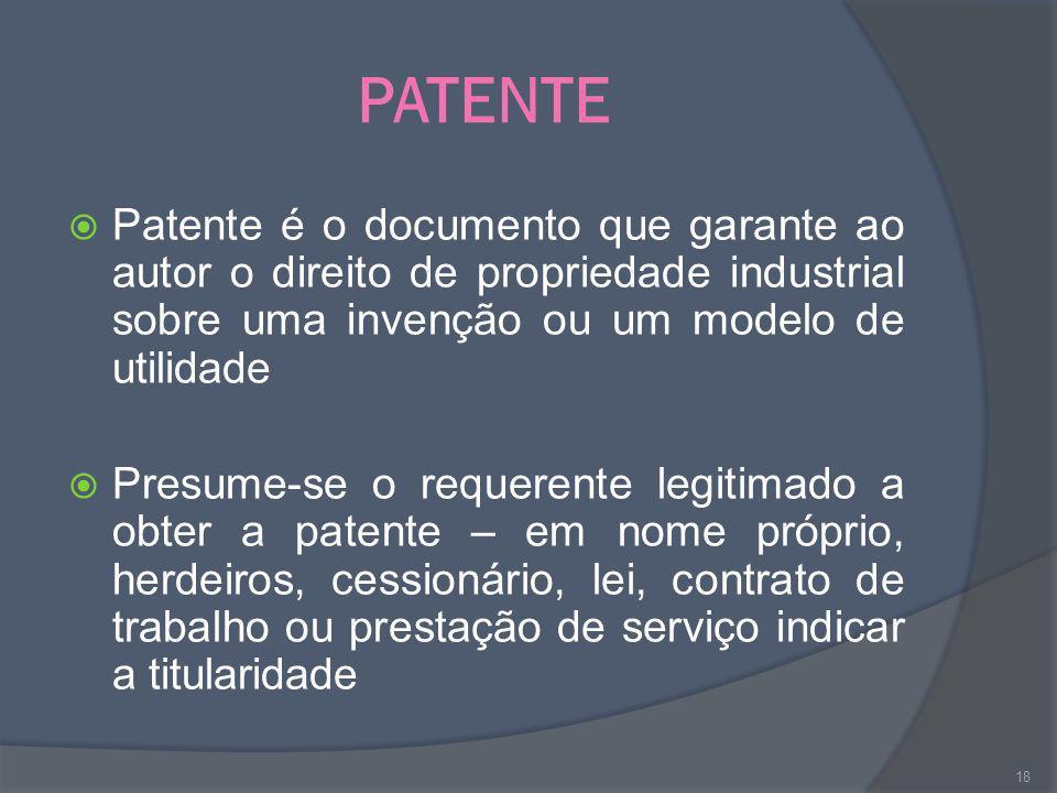 PATENTE Patente é o documento que garante ao autor o direito de propriedade industrial sobre uma invenção ou um modelo de utilidade.