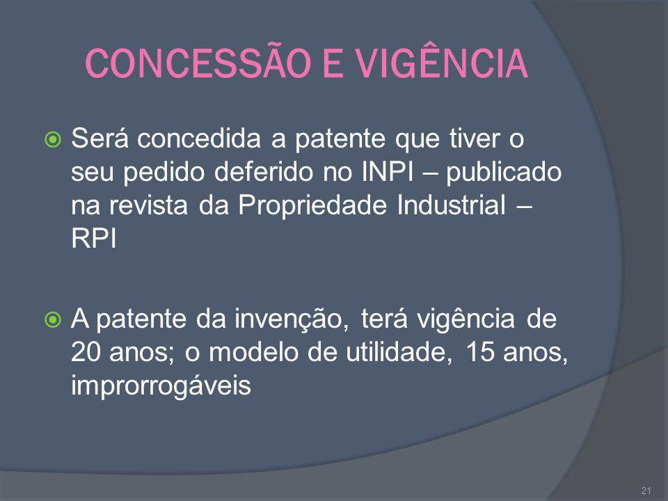 CONCESSÃO E VIGÊNCIA Será concedida a patente que tiver o seu pedido deferido no INPI – publicado na revista da Propriedade Industrial – RPI.