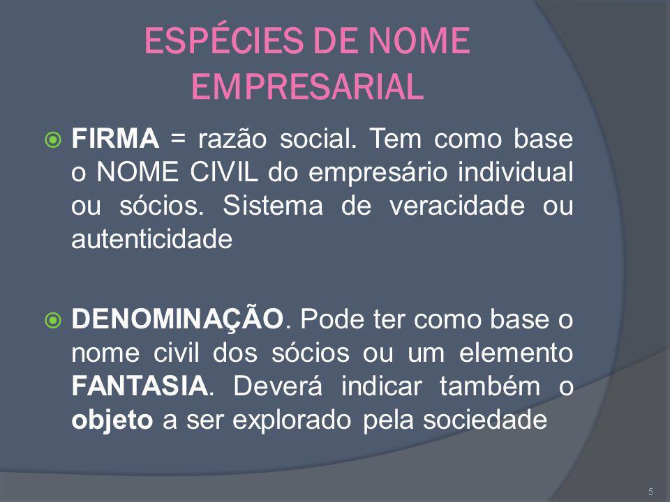ESPÉCIES DE NOME EMPRESARIAL