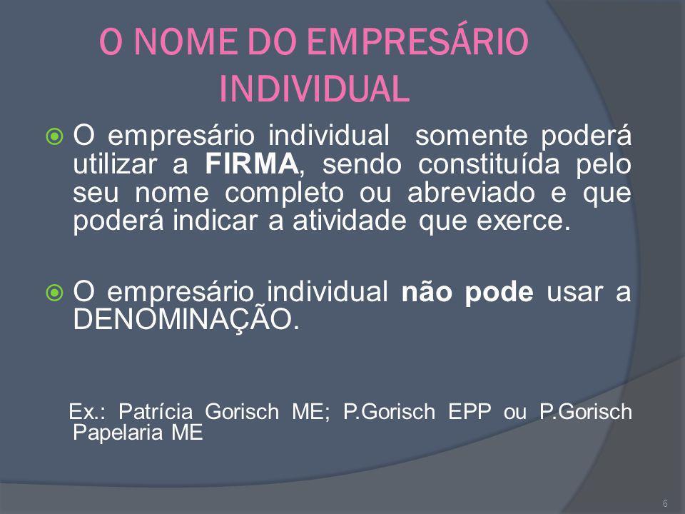 O NOME DO EMPRESÁRIO INDIVIDUAL