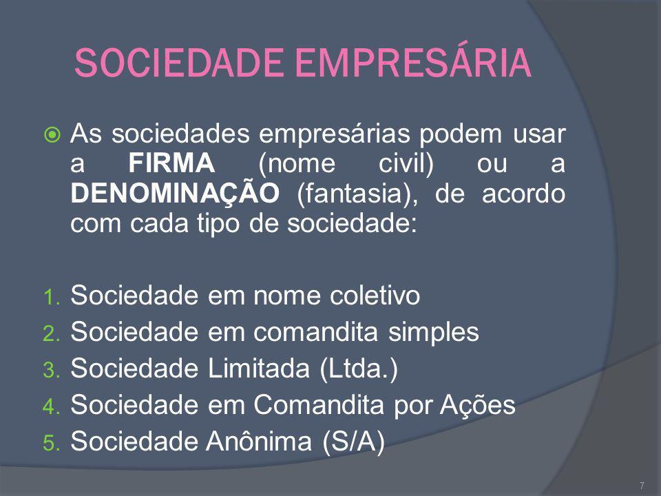 SOCIEDADE EMPRESÁRIA As sociedades empresárias podem usar a FIRMA (nome civil) ou a DENOMINAÇÃO (fantasia), de acordo com cada tipo de sociedade: