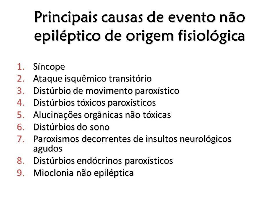 Principais causas de evento não epiléptico de origem fisiológica