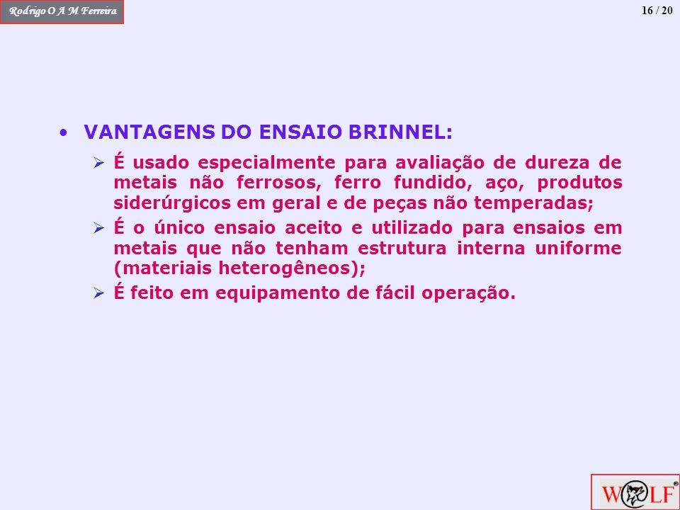 VANTAGENS DO ENSAIO BRINNEL: