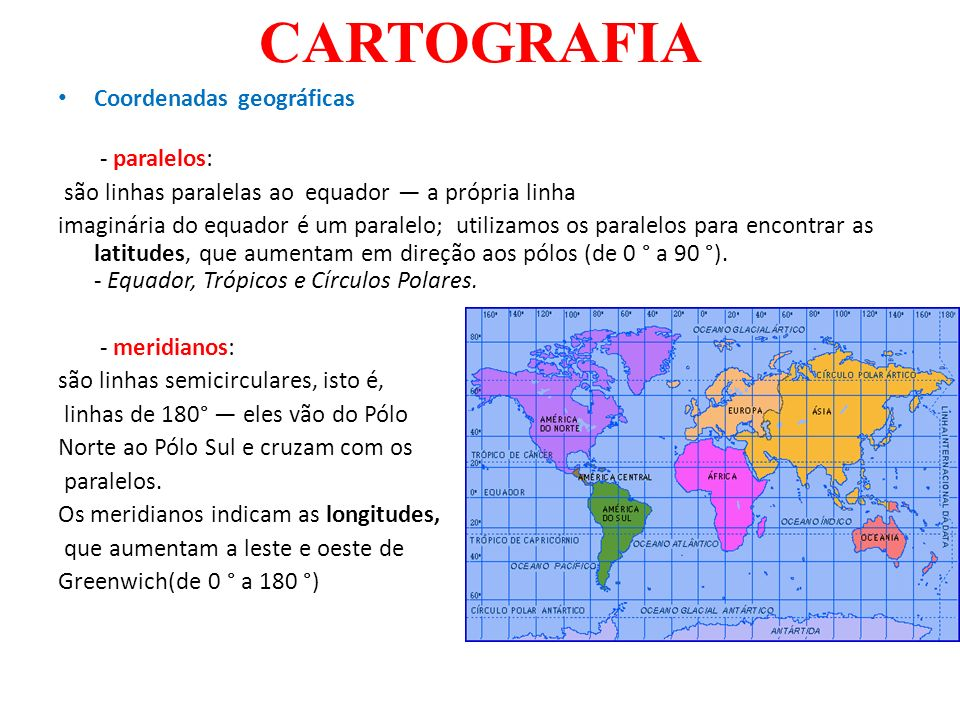 CARTOGRAFIA Coordenadas geográficas - paralelos: