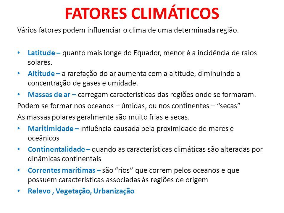 FATORES CLIMÁTICOSVários fatores podem influenciar o clima de uma determinada região.