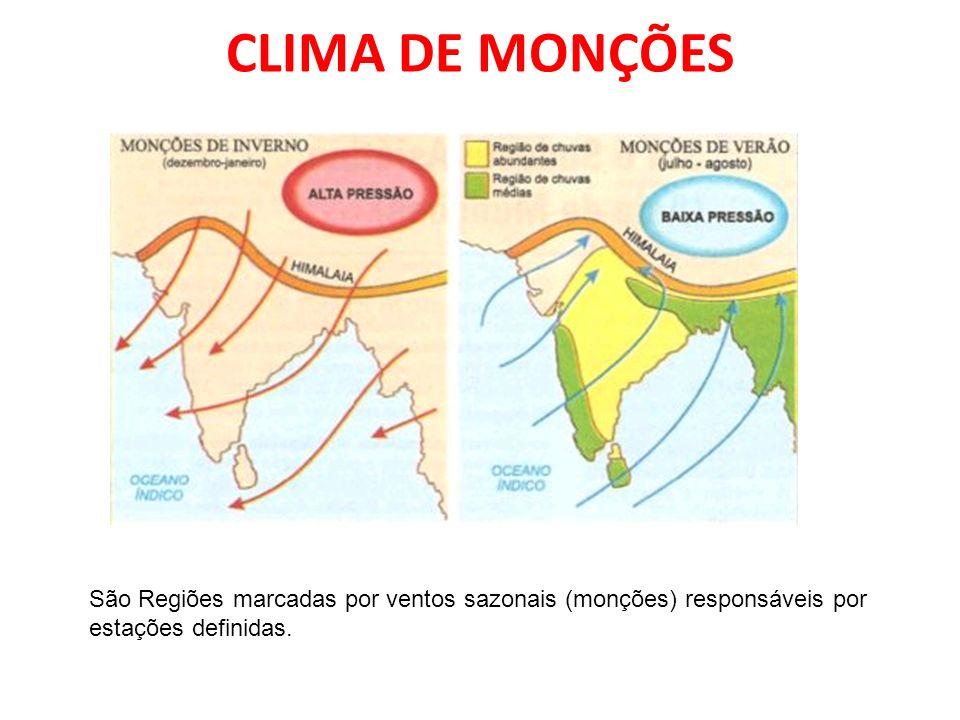 CLIMA DE MONÇÕESSão Regiões marcadas por ventos sazonais (monções) responsáveis por estações definidas.