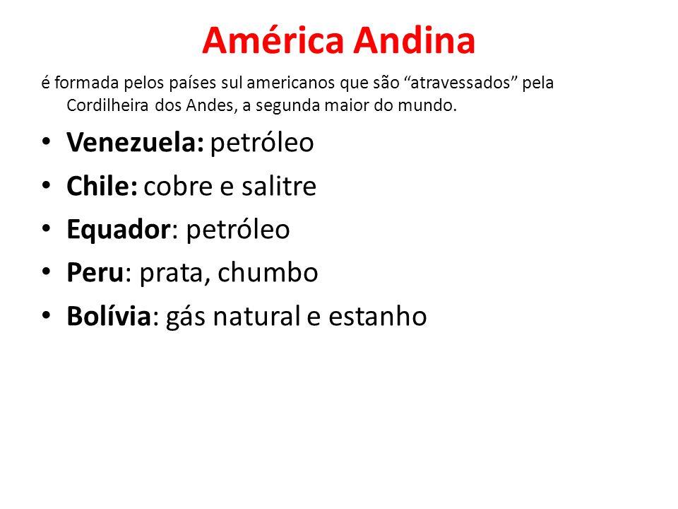 América Andina Venezuela: petróleo Chile: cobre e salitre