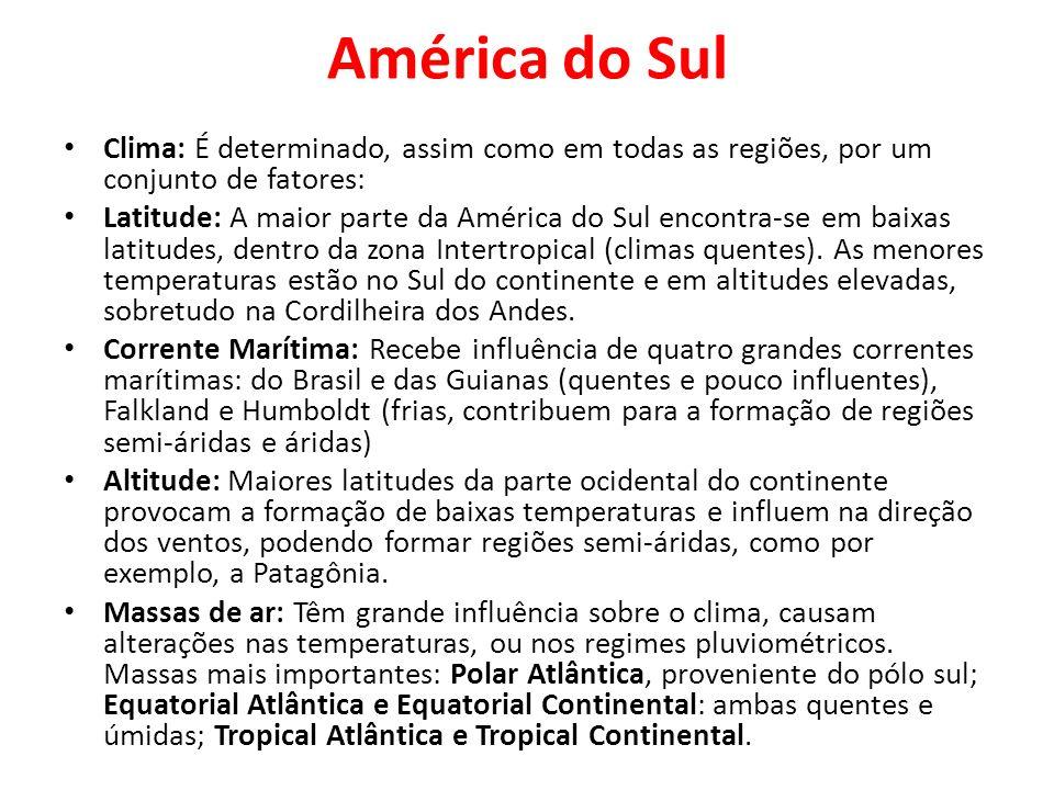 América do SulClima: É determinado, assim como em todas as regiões, por um conjunto de fatores: