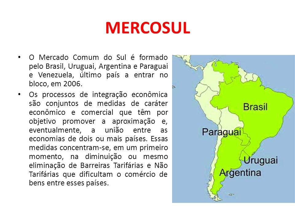 MERCOSULO Mercado Comum do Sul é formado pelo Brasil, Uruguai, Argentina e Paraguai e Venezuela, último país a entrar no bloco, em 2006.