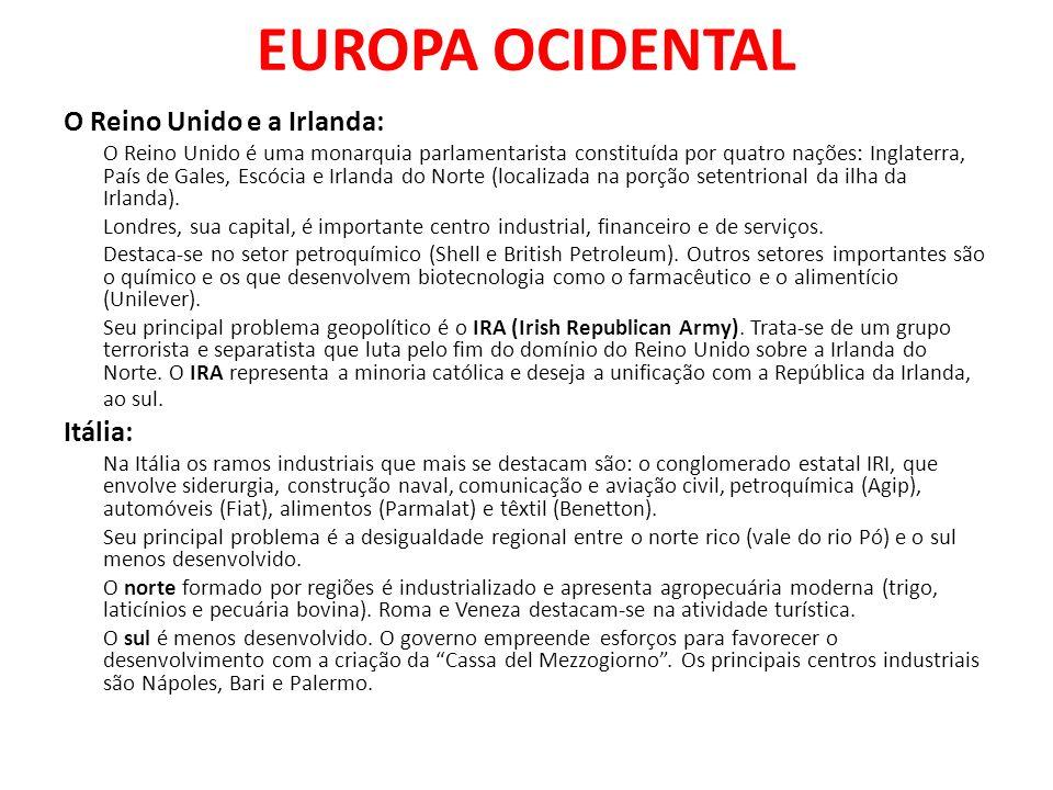 EUROPA OCIDENTAL O Reino Unido e a Irlanda: Itália:
