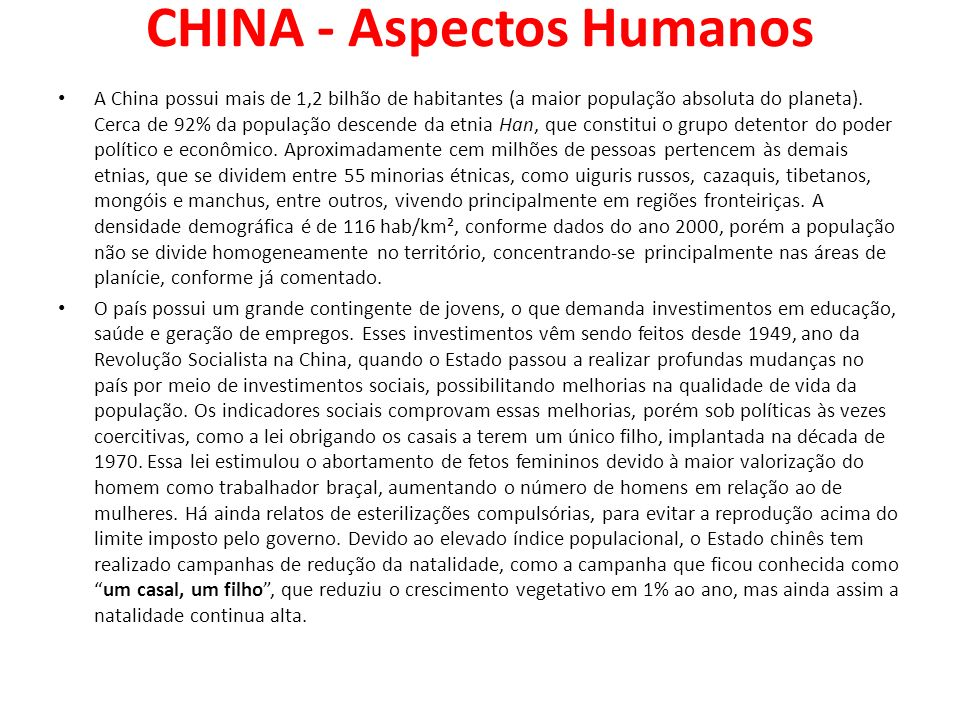 CHINA - Aspectos Humanos
