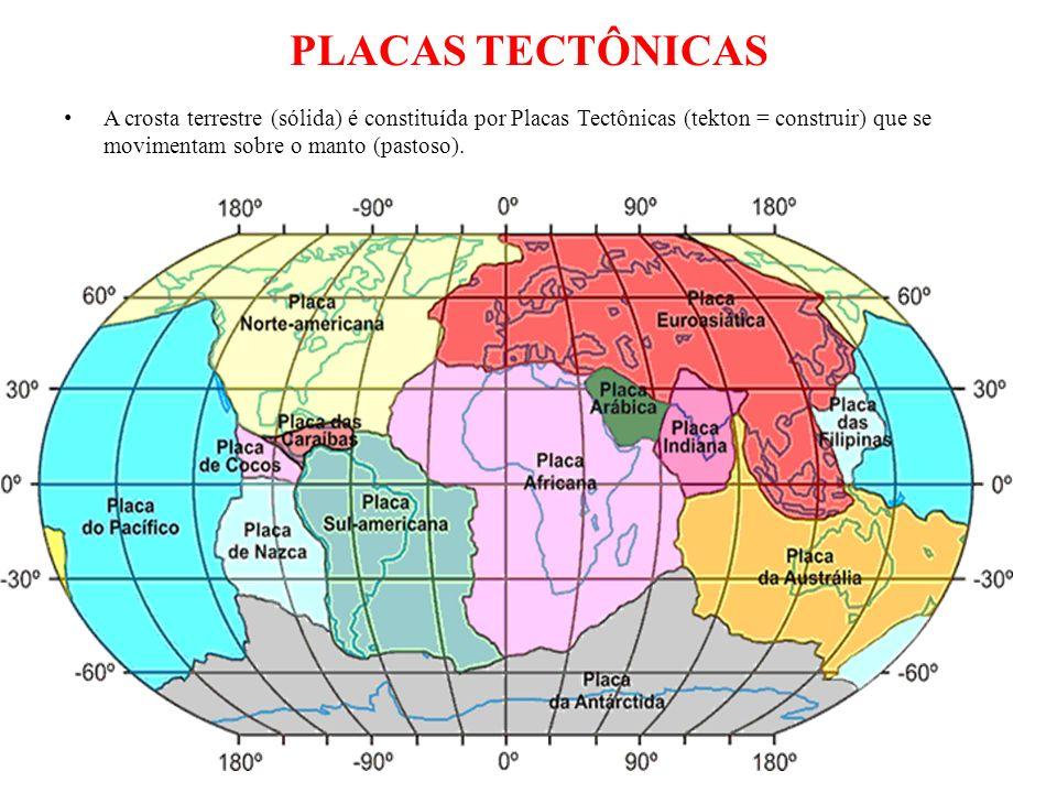 PLACAS TECTÔNICAS A crosta terrestre (sólida) é constituída por Placas Tectônicas (tekton = construir) que se movimentam sobre o manto (pastoso).