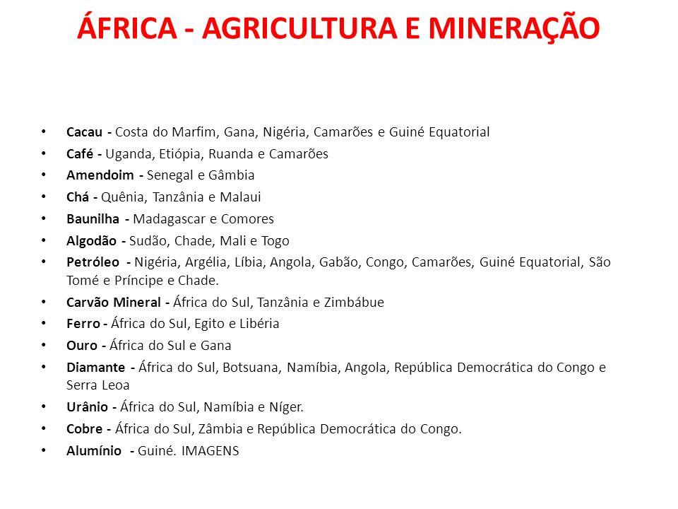 ÁFRICA - AGRICULTURA E MINERAÇÃO